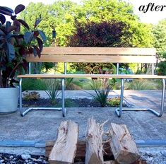 With simple wooden slats for the seat and back and a healthy dose of silver spray paint, upcycling these word-out chairs into a fresh-looking wood bench was a relatively easy process requiring little in terms of metal-or-wood-working expertise.