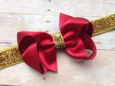 Red gold boutique bow headband - red baby headband, red & gold headband, gold headband, Christmas headband by BrownEyedBowtique on Etsy https://www.etsy.com/listing/210565137/red-gold-boutique-bow-headband-red-baby