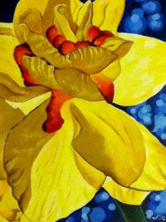 Yellow Flower, Georgia O'keeffe lesson idea.