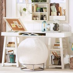 Customize-It Project Trestle Desk #pbteen? Good storage & you can do the custom message board above it.