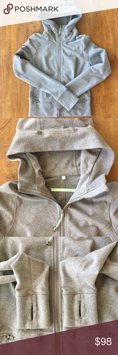 Lululemon Throw Me Over Hoodie Lululemon Throw Me Over Hoodie.  Heather gray, teal accents, thumb holes.  Stretch French Terry fabric with ribbed side panels.  Great condition! lululemon athletica Tops Sweatshirts & Hoodies