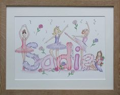 Sadie ballerina name painting Girls Bedroom, Bedrooms, Name Paintings, Sadie, Nursery Art, Baby Names, Ballerina, Art Projects, Numbers
