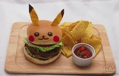 Pikachu Cafe in Japan Serves Pokémon Food. There is currently a limited-time official Pikachu Cafe in Tokyo! It serves Pikachu themed dishes including Pikachu burgers, rice, curry, parfait, fancy desserts and more! Pikachu Pikachu, Pokemon Party, Pokemon Birthday, Pokemon Go, Kreative Desserts, Burgers And More, Food Themes, Food Ideas, Food Humor