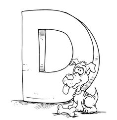 D For Cartoon Dog Coloring Pages