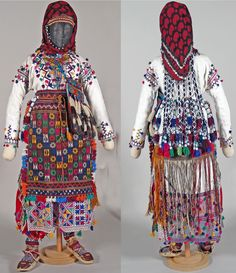 Traditional festive costume from Nebiköy (15 km NE of Tokat city). Style: 1960s. Ethnic group: Alevi Türkmen. All parts are original, and bought from the village in 1989; the costume was still in use in the early 2000s. (Kavak Costume Collection-Antwerpen/Belgium). This costume was SOLD to the 'Etnografisch Museum, Antwerpen' in 2008.
