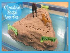 """Kinetic Sand CBT Triangle [[MORE]]• This is a basic CBT Triangle that is moulded out of kinetic sand. I then provide examples that demonstrate how our thoughts, feelings and behaviors are connected. I typically make a """"diamond"""" shape instead, and add..."""