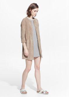 Long leather jacket - Women | MANGO