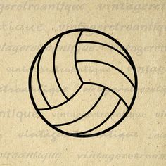 Volleyball Graphic Image Printable Download Sports Digital Artwork. Vintage high resolution digital illustration from retro artwork for printing, iron on transfers, t-shirts, tea towels, tote bags, and more. This graphic is high quality, large at 8½ x 11 inches. Transparent background version included with every graphic.