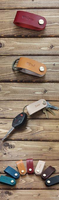 Custom Carved Letters Simple Multifunctional Leather Key Organizer Door Key Car Key Case Brown