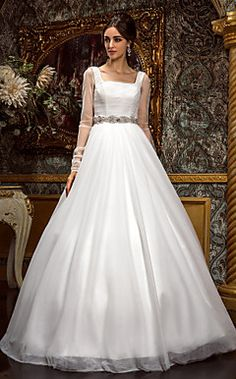 A-line Princess Square Floor-length Tulle Wedding Dress (612... – USD $ 299.99