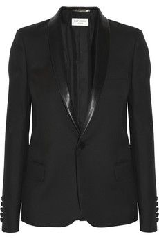 SAINT LAURENT Leather-trimmed wool-gabardine tuxedo jacket - A classic black jacket - a must in any wardrobe!