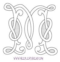 Monogram for Hand Embroidery: Celtic M (source: http://www.needlenthread.com/2008/09/monogram-for-hand-embroidery-celtic-m.html#)