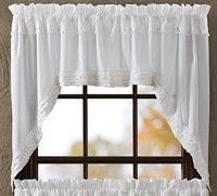 These White Ruffled Sheer Swag Curtains are so quaint and will bring country charm to your windows.  We have matching tiers, valances, and panel curtains sold separately.  http://www.primitivestarquiltshop.com/White-Ruffled-Sheer-Swag-Curtains_p_6078.html  $31.95