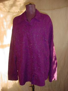 Sag Harbor Blouse Shirt Top Purple sz XL Long Sleeved Button Down Embroidered #SagHarbor #Blouse #Casual