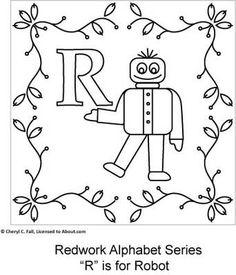 Free Redwork Alphabet Patterns O through U - Redwork Alphabet Embroidery Series Part 3, Page 5