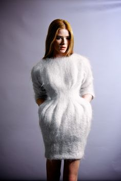 Everything angora and mohair! White Sweater Dress, Sweater Dress Outfit, Knit Skirt, Knit Dress, Dress Skirt, Angora, Knitwear Fashion, Knit Fashion, Gros Pull Mohair