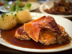 As a child, I remember waking up on a Sunday morning to the smell of my mothers Bavarian Pork Roast in the oven. Oven Roast, Pork Roast, Sweet And Sour Cabbage, Red Cabbage, Austrian Cuisine, Bread Dumplings, Spareribs, Austrian Recipes
