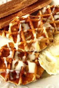 Canned cinnamon bun dough can double as waffle batter. Who knew? Suzie Ridler opened a can of Pillsbury brand cinnamon buns, slapped the segments on her waffle iron, then poured the packet of icing on top when they were done cooking. Yummy!