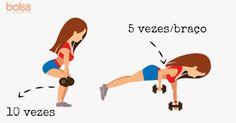 Se você tem preguiça de ir à academia e quer turbinar o corpo de uma vez só, uma série de exercícios para fazer em casa em apenas 15 minutos pode ser sua aliada. Utilizando poucos aparelhos, como halteres e um step, você consegue realizar a sequência, que trabalha bumbum, barriga, braços, costas, abdômen e at