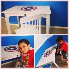 Diy, upcycled Captain America avengers desk for kids. Go superheroes!
