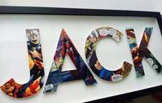 Such a cool decor idea for a kid (or dad?) - Letters made from vintage comic book superheroes.