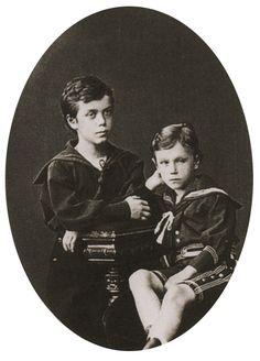 Tsarevich Nicholas (future Tsar Nicholas II) with his Brother, George Alexandrevich Romanov.