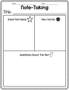 Great freebie for note-taking / close reading!