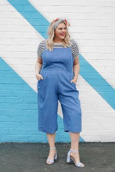 8d22caf326 how to wear a romper tank jumpsuit striped tee heels   womensfashioncasualplussize Culottes Outfit