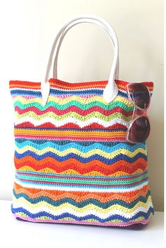 chevron crochet beach bag free pattern