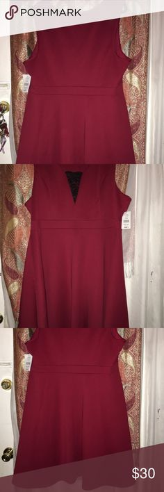 FASHION TO FIGURE RED DRESS WITH BLACK LACE INSERT FASHION TO FIGURE: SIZE 3 ( SIZE 22/24) S/L FLR DRESS W/ LACE INSET DARK RED DRESS: 95% POLYESTER 5% SPANDEX LINING: POLYESTER Fashion to Figure Dresses
