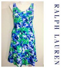 "Lauren Ralph Lauren Floral Fit & Flare Dress NWT midi length fit & flare dress, polyester spandex v neck, back zip closure 42"" bust 32' waist 30"" length no trades no paypal Ralph Lauren Dresses"