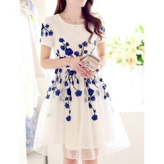 Wholesale Elegant Women's Jewel Neck Short Sleeve Embroidered Organza Dress (BLUE,XL)