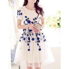 Wholesale Elegant Women's Jewel Neck Short Sleeve Embroidered Organza Dress (BLUE,XL)