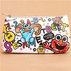 white Sesame street pencil case from Japan Elmo Muppet