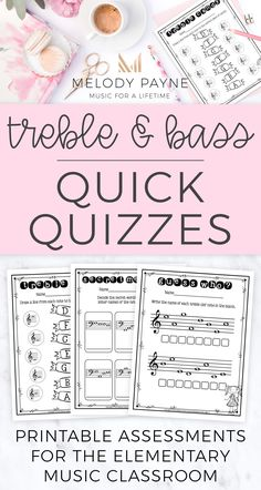 Assess your elementary music students' understanding of treble & bass clef notes on the staff with these fun printable quick quizzes! Perfect to use as a quick assessment, homework, worksheet, test, in the sub tub, during a variety of music units, and more! Write, draw, spell words on the staff, matching, and decode words on the staff. #violinlessonsforkids