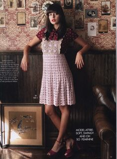 Pinafore crochet dress with free pattern at source