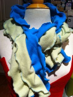 Turquoise green cashmere scarf .  Ruffle edges.  Handmade from recycled cashmere sweaters.  Upcycled and Eco-friendly.