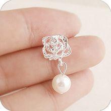 2015 Fashion Camellia Rose imitation pearl earrings female jewelry wholesale free shipping(China (Mainland))