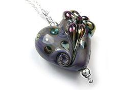 Lampwork Glass Pendant - Purple Flower Heart Pretty Flowers, Purple Flowers, Glass Necklace, Glass Pendants, Sterling Silver Jewelry, Belly Button Rings, Heart, Metal, Stuff To Buy