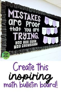 """Love this in my math classroom! Encourage a growth mindset with this error analysis bulletin board decoration set perfect for any math classroom.  It says """"Mistakes are proof that you are trying"""" and has 70 math problems are solved with errors. The math problems relate to 5th, 6th, 7th, 8th grade math, Algebra 1 and high school Geometry standards. First Year Teachers, New Teachers, Elementary Teacher, Math Teacher, Math Classroom, Teaching Math, Classroom Organization, Classroom Decor, High School Subjects"""