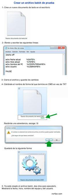 Crear un sencillo archivo batch de prueba con el Bloc de notas usando un documento de texto, que devuelve información de nuestro equipo al usarlo