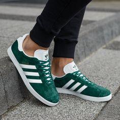 Chaussures Adidas gazelle velours perfo femme vert femme