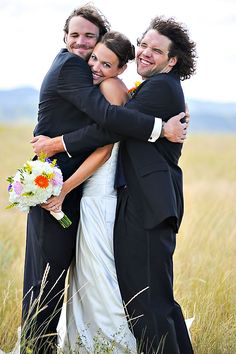 Bride, groom, and best man pic. Adorable.