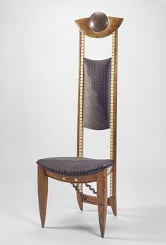 RISD Museum: Rosanne Somerson, American, b. 1954. Tall Back Chair, 1990. Blistered poplar, holly, bronze, silk upholstery. 156.2 x 53.3 x 50.8 cm (61 1/2 x 21 x 20 inches). Museum purchase with funds from the National Endowment for the Arts and the Museum Associates 1991.006