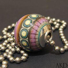 OOAK Handmade Lampwork Glass Bead Focal Necklace by AKDlampwork, $69.00