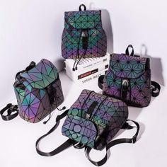 Luminous Backpack stitching Lattice Bag Men Women Backpack for Travel girl Laptop Backpack, Travel Backpack, Fashion Backpack, Laptop Bags, Hologram, Vintage Fashion, Backpacks, Stylish, Womens Fashion
