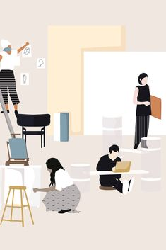 Flat vector furniture and people silhouettes Book Design, Layout Design, Ppt Design, Graphic Design, People Cutout, Architecture People, Poster Layout, People Illustration, Co Working
