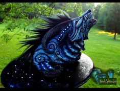 --SOLD--Fantasy Moondust Wolf Sculpture! by Wood-Splitter-Lee.deviantart.com on @deviantART