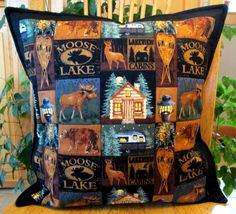 Cozy addition to the lodge and lake cottage. Handmade Pillow Covers, Lake Cottage, Fish Camp, Quilted Pillow, Pillow Inserts, Moose, Deer, Best Gifts, Quilts