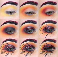So ready for Halloween make up!So ready for Halloween make up!So ready for Halloween make up! Halloween Spider Makeup, Spider Web Makeup, Halloween Makeup Looks, Halloween Party, Halloween Eyeshadow, Halloween Ideas, Eyeliner Hacks, Holiday Makeup, Halloween Disfraces